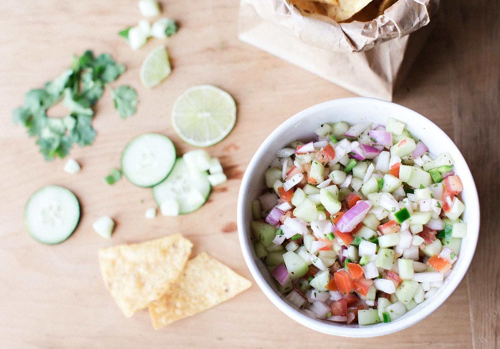 the elle in love, recipe, cucumber lime salsa, garden fresh